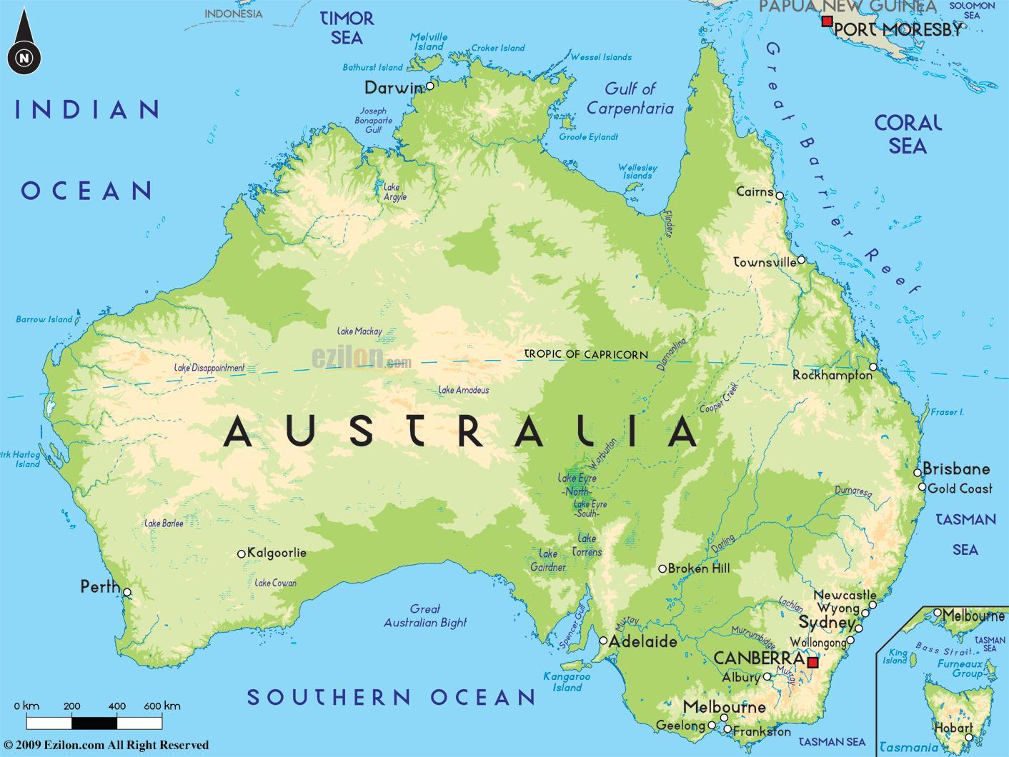Peta Kota: Peta Australia